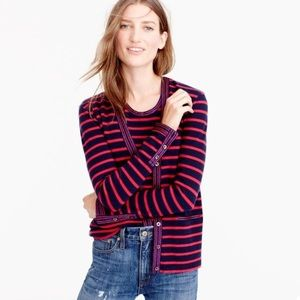 J. Crew Metallic Trim Striped Cardigan Pockets XS
